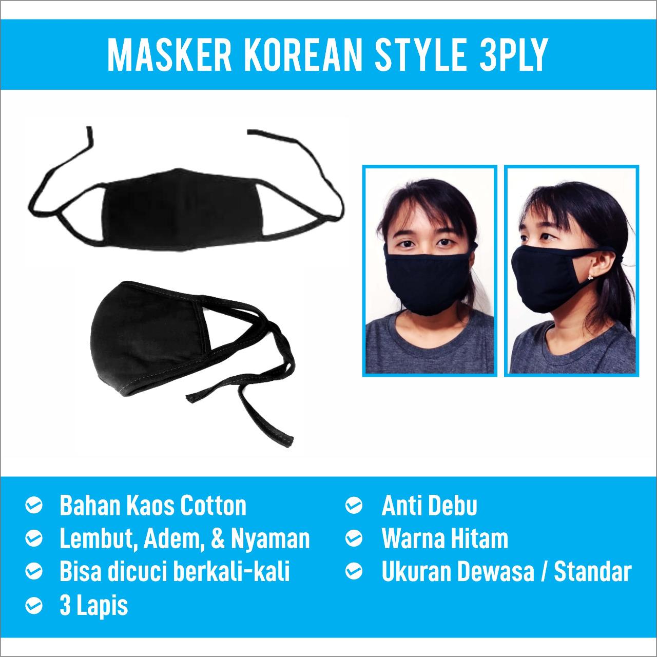 Masker Korean Style 3 ply (isi 50) Warna Hitam